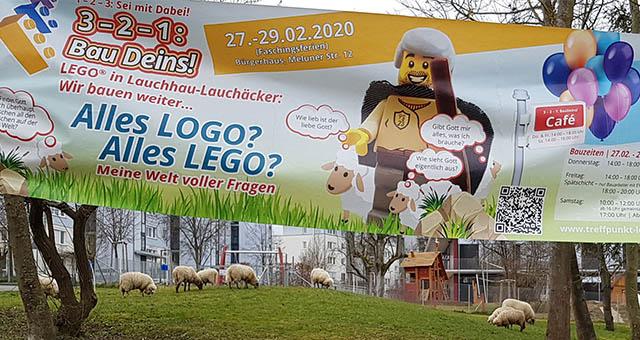 LEGO-Stadtaktion zum Psalm 23 in Stuttgart Lauchhau-Lauchäcker.